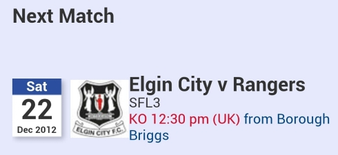 Next match Rangers v Elgin Sat 22nd - 4.30pm Baku