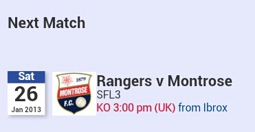 Next match Rangers v Montrose Saturday 26th, 7pm Baku