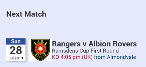 Sunday 8.05pm Ramsden Cup Rangers away to Albion Rovers